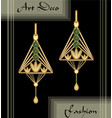 luxury art deco filigree earrings jewel with vector image vector image