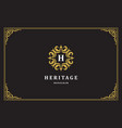 luxury vintage ornament logo monogram crest vector image