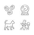 magic linear icons set runestones fortune telling vector image