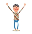 Man rejoices with hands up cartoon vector image