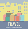 Many Luggage In Front Of Building Travel Concept vector image vector image