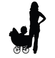 mother and baby in the pram vector image