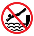 no jumping in the water sign vector image vector image