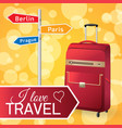 red travel bag vector image vector image