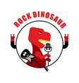 Rock dinosaur emblem for old rock musicians vector image
