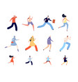 running people characters athlete woman runners vector image vector image