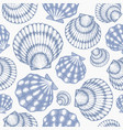 scallop seamless pattern hand drawn seafood vector image