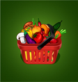 shopping basket with bunch of vegetables vector image vector image