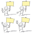 Simple People Holding a Placard vector image vector image