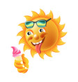sun smile or summer cartoon emoticon and emoji vector image vector image