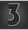 Three number Road font vector image vector image