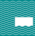 turquoise wavy pattern with white blank card vector image vector image