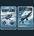 vintage posters custom planes aviation show vector image