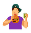 young guy eats fast food and drinks soda in can vector image