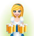 Oktoberfest cartoon girl with beer vector image