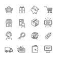 Shopping e-commerce icons set flat outline vector image