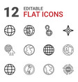 12 geography icons vector image vector image