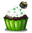 A chocolate cupcake with a pot full of coins vector image vector image