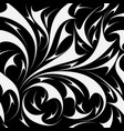 abstract seamless floral pattern black and vector image