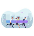 business people holding arrow and moving forward vector image