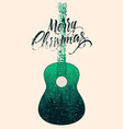 calligraphic christmas card with guitar vector image vector image
