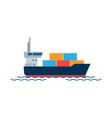 cargo ship with containers in the ocean shipping vector image
