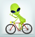 Cartoon Alien Cycling vector image vector image