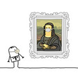 cartoon man with a mask watching a famous painting vector image