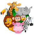 Cartoon safari animals vector image vector image