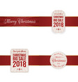 christmas festive banners with red ribbon vector image vector image