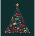 christmas pine tree gold decoration greeting card vector image vector image