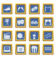 cinema icons set blue vector image
