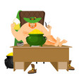 cool leprechaun relaxing mug beer and pipes tough vector image