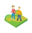 Couple Walk in Park Design Flat vector image vector image