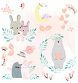 cute animal cartoon spring blossom theme vector image vector image