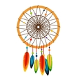 Dreamcatcher with feathers and beads vector image vector image