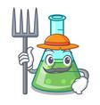 farmer science beaker character cartoon vector image vector image