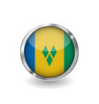 flag of saint vincent and the grenadines button vector image vector image
