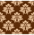 Floral beige on brown damask seamless pattern vector image