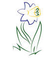 flower drawing on white background vector image vector image