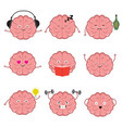 funny strong healthy and smart brain brains vector image