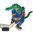 gator sports hockey logo mascot vector image vector image