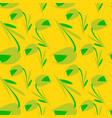 Green flowers and tulips on a lemon background