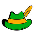 green hat with a feather icon icon cartoon vector image vector image