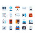 hvac simple flat color icons set vector image