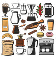 isolated coffee beans and spices machine icons vector image