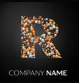 letter r logo gold-silver dots alphabet logotype vector image vector image