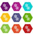 ninja stars icons set 9 vector image vector image