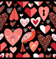 pattern bright hearts vector image