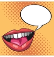 pop art lips bubble speech yellow dotted vector image vector image
